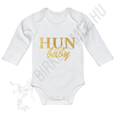 Baba-body, hosszú ujjas, pamut arany HUN Baby felirattal