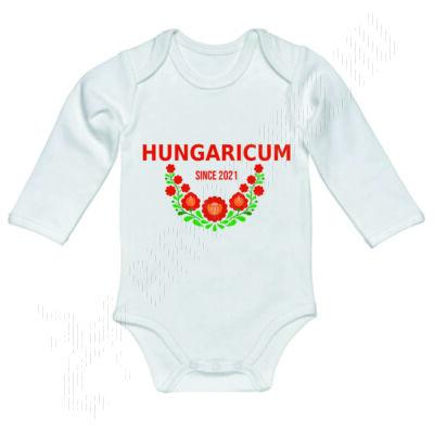 Baba-body, hosszú ujjas, pamut fehér-Hungaricum