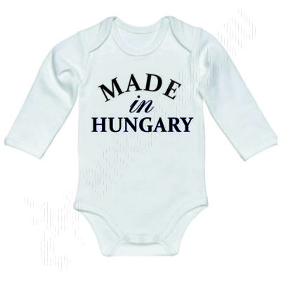 Baba-body, hosszú ujjas, pamut fekete Made In Hungary felirattal