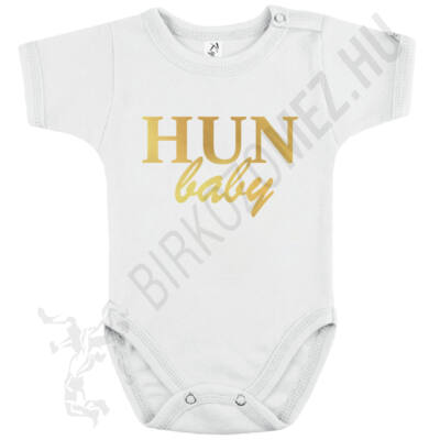Baba-body, rövid ujjas, pamut arany HUN Baby felirattal