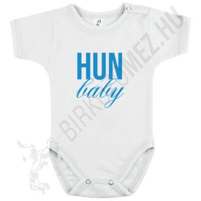 Baba-body, rövid ujjas, pamut babakék HUN Baby felirattal