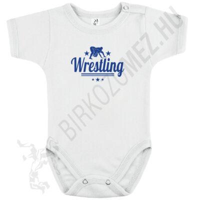 Baba-body,rövid ujjas, pamut, kék wrestling felirattal
