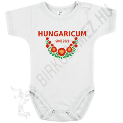 Baba-body, rövid ujjas, pamut fehér-Hungaricum