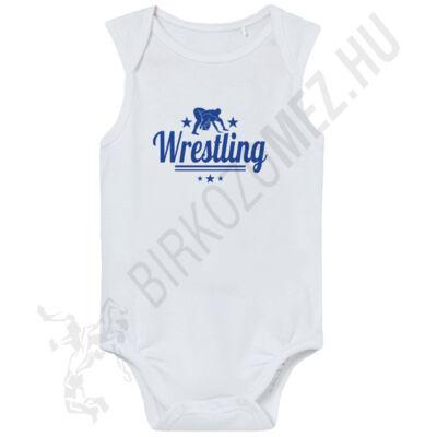 Baba-body,ujjatlan, kék wrestling felirattal