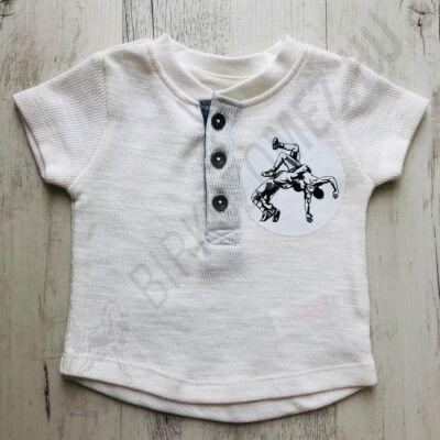 Baba póló birkózó mintával - elől gombos-fehér - 1 hónap