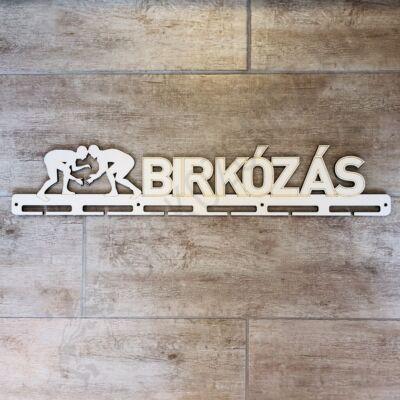 Fali Éremakasztó Fából - BIRKÓZÁS - egy soros, bézs (65x12cm)