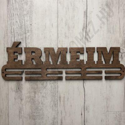 Fali éremakasztó fából 2 soros-Érmeim, barna (38x12cm)