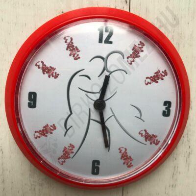 Mágneses, piros-fehér kicsi óra Birkózók(8cm)