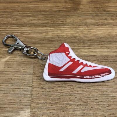 Kulcstartó, birkózó cipő - piros-fehér