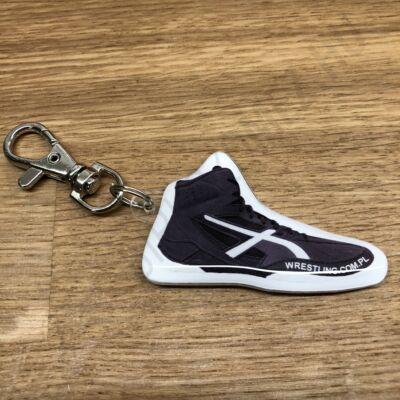 Kulcstartó, birkózó cipő - fekete, fehér mintával