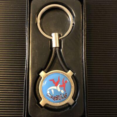 Kulcstartó műgyantás-fém-gumi-kék
