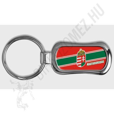 MAGYARORSZÁG,  piskóta alakú kulcstartó, piros-zöld