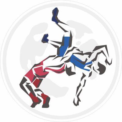 Birkózócipő matrica- kék