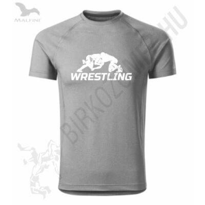 Férfi szürke technikai póló, wrestling mintával