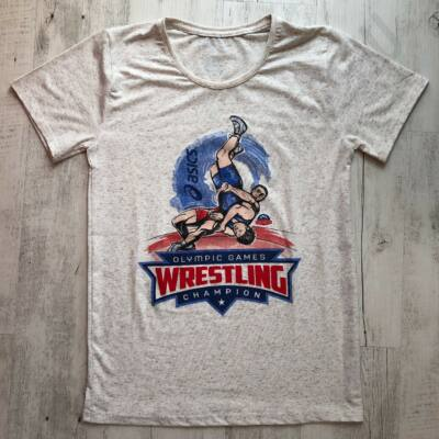 Férfi póló Olimpic Games Wrestling Champion-fehér