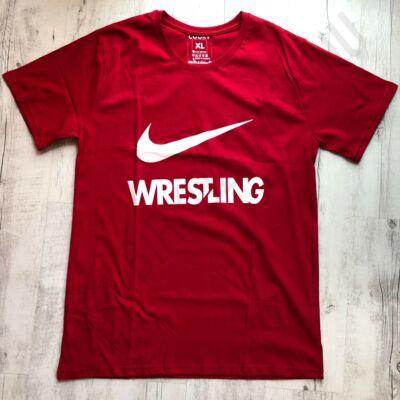 Férfi póló Wrestling - Fehér pipával-piros-XL