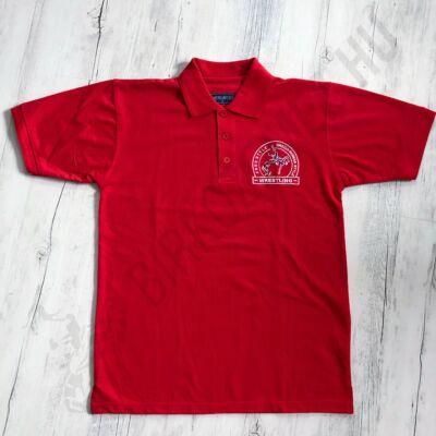 Férfi póló - Galléros - Hímzett póló - Piros