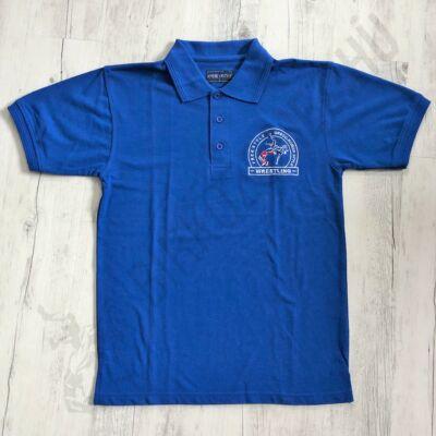 Férfi hímzett galléros póló kék