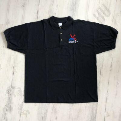 Férfi hímzett galléros póló-fekete