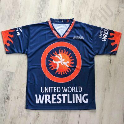 United World Wrestling technikai póló férfi sötétkék-narancs