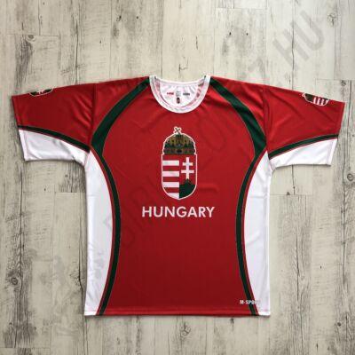 Férfi technikai póló, fehér kerek nyakú- HUNGARY