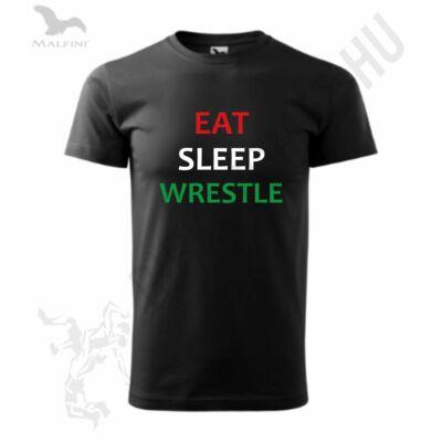 Férfi póló - Eat, Sleep, Wrestle - fekete