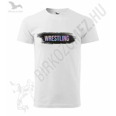 Férfi póló, hologramos wrestling felirattal