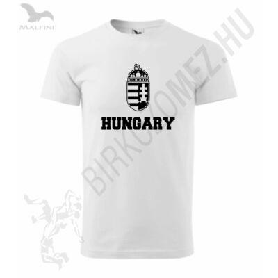 Férfi póló fehér, fekete HUNGARY felirattal
