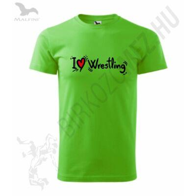 Férfi póló - I Love Wrestling-zöld