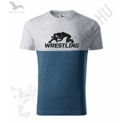 Férfi póló, szürke-kék, wrestling mintával