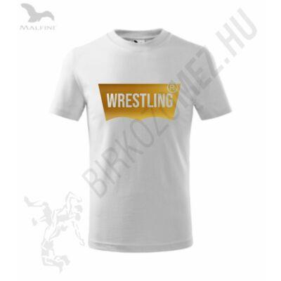 Férfi póló, wrestling vágott, fényes aranyból