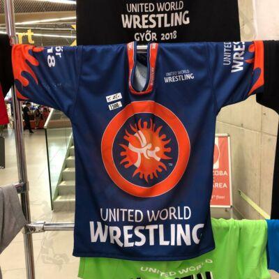 UWW-s Technikai United World Wrestling-Gyerek póló sötétékék