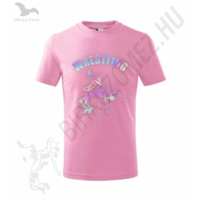 Gyerek póló, rózsaszín - hologramos dobós mintával