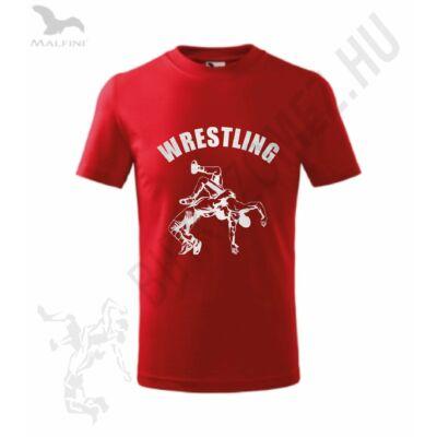 Gyerek póló, piros - ezüst dobós mintával