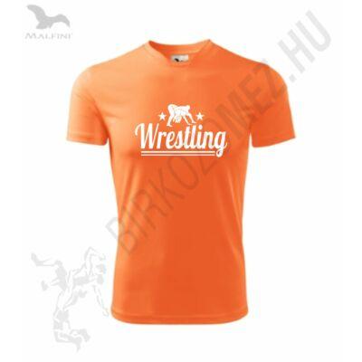 Wrestling -Technikai anyagból-Gyerek póló, neon mandarin