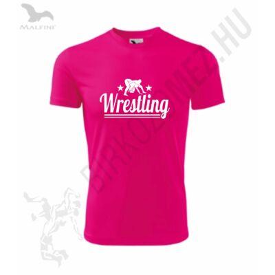 Wrestling -Technikai anyagból-Gyerek póló, neon pink