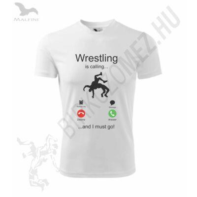 Gyerek póló, technikai anyagból - wrestling is calling mintával