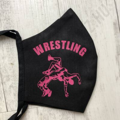 Fekete vászon maszk- pink, áttört mintával (kötős)