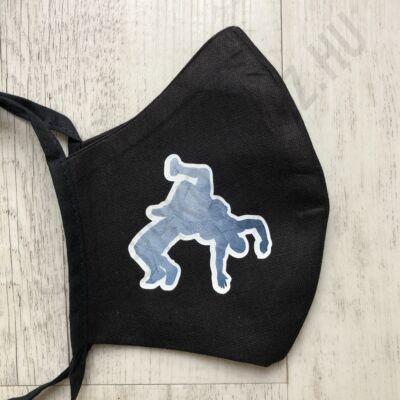 Fekete vászon maszk- acélkék mintával (kötős)