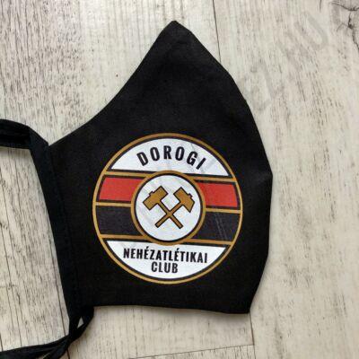 Fekete vászon maszk- DNC-s logóval (kötős)