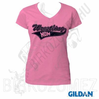 Női, V nyakú póló - WRESTLING MOM, rózsaszín-s.kék