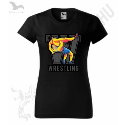 Női W-színes mintás fekete póló