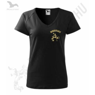 Női fekete-arany prémium póló V kivágással