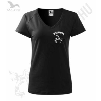 Női fekete-ezüst prémium póló V kivágással