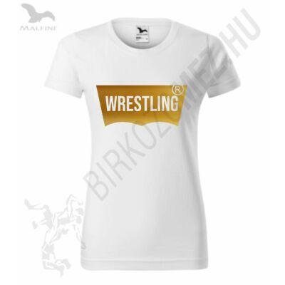 Női póló, wrestling vágott, fényes aranyból