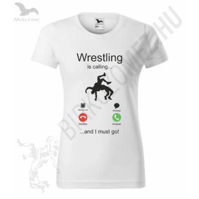 Női szublimált póló, wrestling is calling..