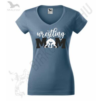 Női farmerkék póló, wrestling mom