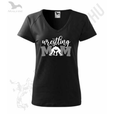 Női fekete póló, wrestling mom