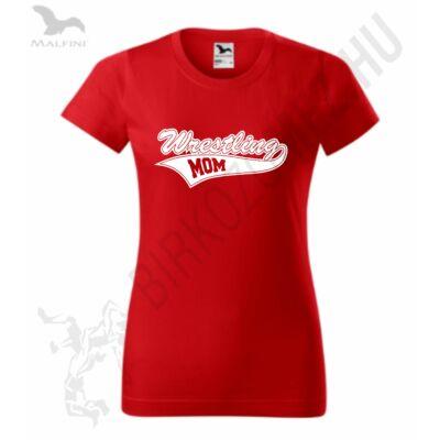 Női kerek nyakú póló - piros-fehér