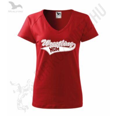 Női karcsúsitott póló-piros-fehér
